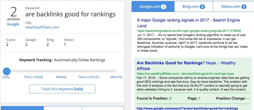 SiteRank feature at Wealthy Affiliate to track your rankings in Google, Yahoo and Bing. Better. So that you know if you are going up or down within the search results.