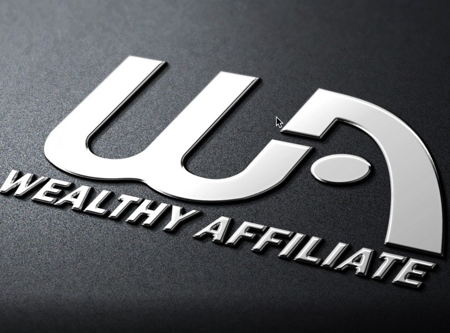 Wealthy Affiliate logo with WA and Wealthy Affiliate written in white on a grey background